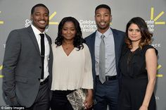 Glittering crowd: Ryan Coogler smilingly posed with Octavia Spencer, Michael B. Jordan and actress Melonie Diaz