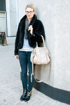 Black fur jacket, denim