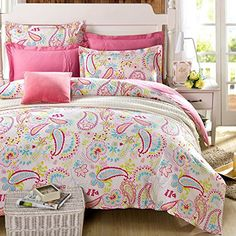 Cliab Paisley Bedding Pink Twin Girls Duvet Cover Set 100% Cotton 5 Pieces(fitted Sheet Included) Cliab Duvet Cover Sets