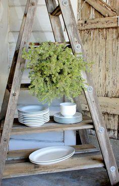 Ladder turned display or storage shelving. Salvage Dior