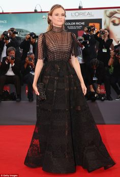 Diane Kruger in Valentino Fall 2015 Haute Couture attends the closing ceremony and premiere of 'Lao Pao Er' during the 72nd Venice Film Festival on September 12, 2015