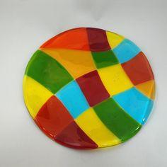 Fused Glass Jewel Tone Round Plate 04418
