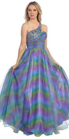 Sparkly Sequined  Single Strap Ruched Elegant Print Long Evening Gown LT5321-PP LT5321-PP $177.00 on www.PromDressLine.Com