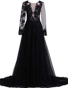 XFCastle Black Lace A Line Split Evening Dresses with Lon...