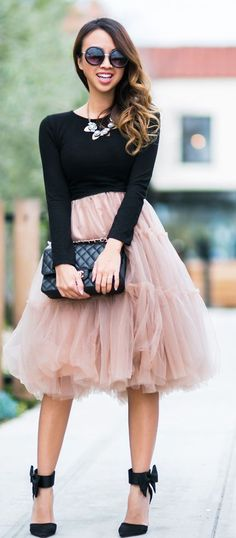 awesome Chicwish Blush Tulle Skirt with Bow Heels Sandals and Bib Necklace or Black Long Sleeve Top