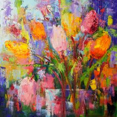 "Marion's Floral Art Blog: Kaleidoscope - Colourful tulip still life abstract Palette knife painting 40x40 (16x16"") cm on 5 cm (2"") box canvas Painted on a black gesso ground No frame needed as it can be hung without a frame. Available for purchase 250€ int. shipping included"