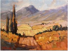 Overberg Patterns (oil) Cape farmlands, South Africa by Malcolm Dewey