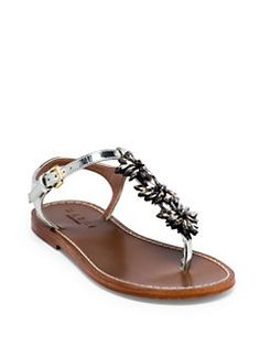 58910a1369e Marni - Crystal-Embellished Metallic Leather Thong Sandals Ankle Strap  Sandals