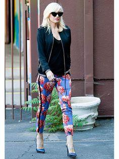 LIBRA: Gwen Stefani: Black cami, black jacket, printed pants.