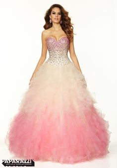 97021 Prom Dresses / Gowns Ombre Ruffled Tulle with Jeweled Ombre Beading Light Pink