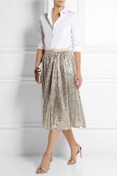 Alice + Olivia|Justina sequined tulle skirt|NET-A-PORTER.COM