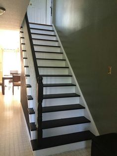 stairs white and black stairs and flooring pinterest staircases wood balusters and. Black Bedroom Furniture Sets. Home Design Ideas