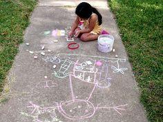 Draw with chalk on the sidewalk