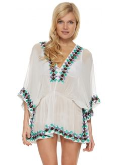 Lindsey Brown Manhattan White Silk Kaftan Top With Lavender Aqua & Bronze Sequins
