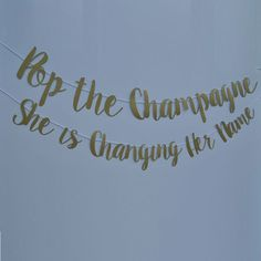 "She said, ""Yes"", so pop a bottle of bubbly and let the party begin! This banner is perfect for a bachelorette party or engagement party and comes in any color. From Party At Your Door Bridal Shower Party, Bridal Shower Decorations, Bridal Shower Banners, Bridal Shower Quotes, Bridal Quotes, Bridal Parties, Wedding Quotes, Themed Bridal Showers, Wedding Shower Signs"
