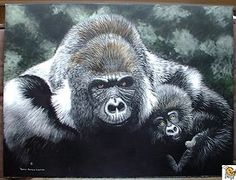 DENNIS JAMES LOGSDON TO LOVE & PROTECT SCRATCHBOARD PAINTING ART GORILLA & BABY