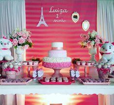 Una fiesta con la linda gatita Marie Paris Party, Wedding Balloons, Marie, Kitty, Table Decorations, Cat, Home Decor, Aristocats, Party