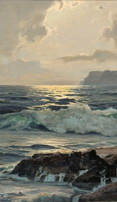 "Frederick Judd Waugh (American, ~ ""Sunset at Sea"" (Détail), Landscape Art, Landscape Paintings, Arte Van Gogh, Ocean Scenes, Water Art, Sea Art, Sea And Ocean, Seascape Paintings, Ocean Waves"
