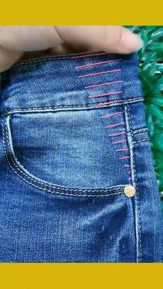 Diy Clothes Life Hacks, Diy Clothes And Shoes, Clothing Hacks, Sewing Basics, Sewing Hacks, Sewing Tutorials, Sewing Jeans, Sewing Clothes, Diy Jeans