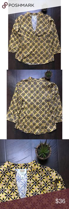 """Talbot's Art Deco Vneck Patterened Top Talbot's art deco patterned 3/4 sleeved top. Vneck. EUC. Zippered side. Approximately 40"""" chest, 23"""" from shoulder to hem. Size small. Talbots Tops"""