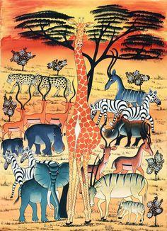 Tinga Tinga Art - ABBASI Rafiki  En Horizonte Paralelo disfrutamos del Arte Tanzano