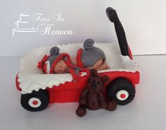 SOCK MONKEY BABY Red Wagon Radio Flyer Wagon Shower Cake Topper edible Fondant Baby shower Cake Topper pink sock monkey baby girl