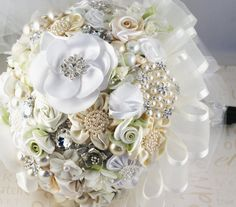 Bridal Brooch Bouquet Ivory Cream and White with Satin by SolBijou,