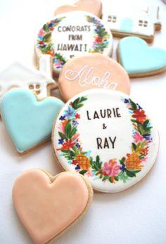 cookies via Wedding Chicks Wedding Cookies, Wedding Favours, Wedding Desserts, Wedding Invitations, Macarons, Our Wedding, Dream Wedding, Wedding Venues, Wedding Themes