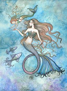 Mermaid Print - Sanctity of Motherhood by Molly Harrison Fantasy Art 5 x 7 on Etsy, $8.50