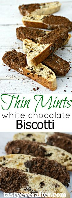 Thin Mints White Chocolate Biscotti It's cookie time! This Thin Mints White Chocolate Biscotti recipe is a classic, crunchy biscotti made with white chocolate chips and Girl Scouts Thin Mints cookies! Italian Cookies, Italian Desserts, Easy Desserts, Mini Desserts, Chocolate Biscotti Recipe, Biscotti Cookies, Biscotti Flavors, Almond Cookies, Crack Crackers