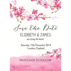 Gorgeous pink and white, cherry blossom / floral theme Save the Dates with watercolour / watercolour details and calligraphy fonts - order as an instant digital PDF printable, cards or magnets. Customise/Personalise online with live previews as you type. All our invites and wedding stationery designs have matching items including invitations, RSVPs and more. Bespoke work also undertaken.