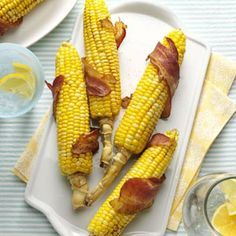 Bacon-Wrapped Corn Recipe. After one bite of this grilled corn on the cob, you'll never go back to your old way of preparing it. The incredible flavor of roasted corn combined with bacon and chili powder is sure to please your palate and bring rave reviews at your next backyard barbecue! Oh, yeah...I'm doing this! You can't go wrong with bacon! ☀