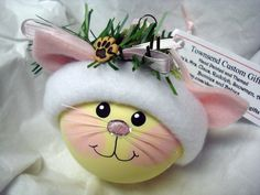 Rock painting inspiration........Kitten Cat Ornament Christmas Tree Bulb by TownsendCustomGifts, $16.95