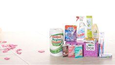 Pflegeprodukte für Gesicht, Mund und Körper sowie Produkte für einen sauberen und strahlenden Haushalt versteckten sich in der Glanz Box.