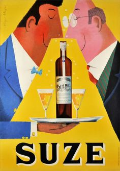 Suze (artist: Mayer) Switzerland c. 1955 - Vintage Advertisement (Art Print Available) Retro Poster, Poster Ads, Poster Vintage, Vintage Travel Posters, Pub Vintage, Vintage Labels, Vintage Advertising Posters, Vintage Advertisements, Vintage Ads