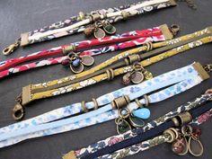 einige neue Kinder im Laden – My-French-Touch-Juwelen made in France – Dress Ribbon Jewelry, Jewelry Crafts, Beaded Jewelry, Handmade Jewelry, Jewlery, Textile Jewelry, Fabric Jewelry, Fabric Bracelets, Beaded Bracelets