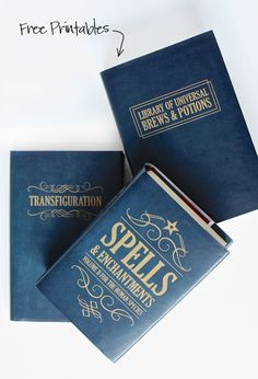 Free Printable Book Covers to make Halloween Spell Books