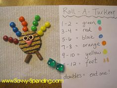 Roll-A-Turkey Preschool Game (plus a use for Halloween candy)!