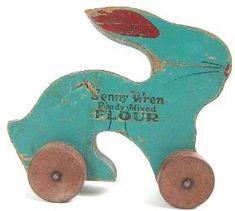 Advertising pull toy....Jenny Wren flour