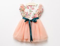 Peach Teal Toddler Girls Tutu Dress Vintage by AvaMadisonBoutique, $40.00