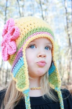 Yellow Crochet Hat with Flower and Earflaps