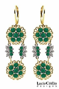 24K Yellow Gold over .925 Sterling Silver Dangle Earrings by Lucia Costin with Sterling Silver Central Flowers and Leaf Details, Set with Filigree Accents and Green Swarovski Crystals; Handmade in USA Lucia Costin. $87.00. Beautifully designed with emerald - green Swarovski crystals. Produced delicately by hand, made in USA. Unique and feminine, perfect to wear for special occasions and evenings. Delicate floral design. Lucia Costin dangle earrings