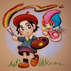 """introducingemy: """" Adeleine and Elline from the Kirby games! I wanted it to look like a storybook drawing. """""""