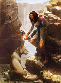 Bastet Huntress by Noxiihunter on DeviantArt Egyptian Mythology, Egyptian Goddess, Egyptian Art, Character Portraits, Character Art, Character Design, Bastet, Elfa, Religion