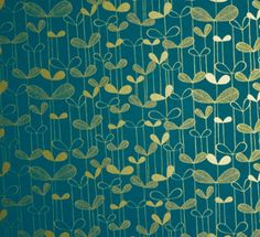 Saplings Wallpaper from Miss Print: Loving the turquoise and gold combo on this sweet print