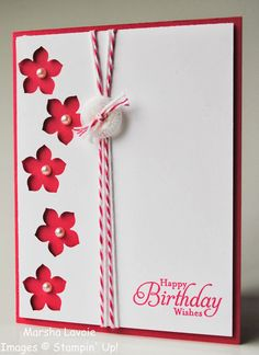 Stampin' Up!  ... handmade card from Stamping with Marsha: Petite Petals ... red and white ... column of flowers punched negative space five petal flower ... red showing from card base ... pearl at the center of each ... double wrap of baker's twine and a sentiment ... luv it!