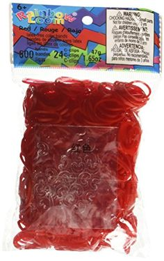 Rainbow Loom Red Jelly Rubber Bands with 24 CClips 600 Count
