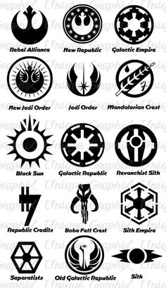 a few star wars symbols row 1 alliance for the republic rebel