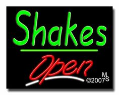 "Shakes Open Neon Sign - Script Text - 24""x31""-ANS1500-2918-3g  31"" Wide x 24"" Tall x 3"" Deep  Sign is mounted on an unbreakable black or clear Lexan backing  Top and bottom protective sides  110 volt U.L. listed transformer fits into a standard outlet  Hanging hardware & chain included  6' Power cord with standard transformer  Includes 2nd transformer for independent OPEN section control  For indoor use only  1 Year Warranty on electrical components."