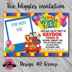 Free Printable Birthday Invitation with Photo Insert Awesome the Wiggles Invitation with Insert Choose by Wiggles Birthday, Wiggles Party, The Wiggles, Wiggles Cake, Happy Birthday Invitation Card, Free Printable Birthday Invitations, Birthday Template, 41st Birthday, 2nd Birthday Parties
